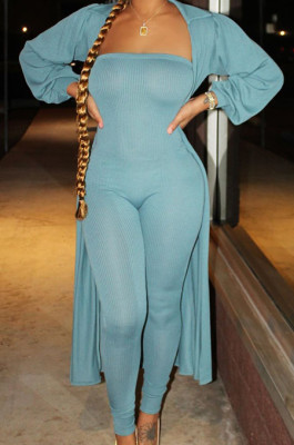 Blue Autumn And Winter Long Sleeve Coat Strapless Solid Colur Bodycon Jumpsuits Two Piece E8508-4