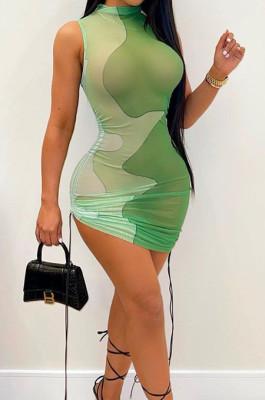 Light Green Women Club Color Block Drawsting Sleeveless Tight Mini Dress SDE62110-2