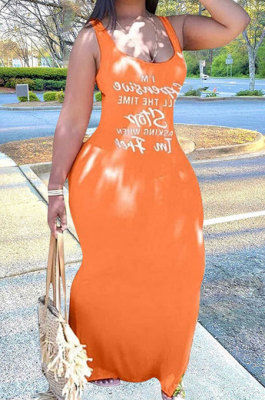 Orange Sexy Women Sleeveless Letters Printing Condole Belt Plus Long Dress DLY8022-1