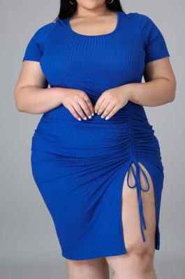 Royal Blue Plus Size Ribber Short Sleeve Round Collar Drawsting Midi Dress QZ5288-2