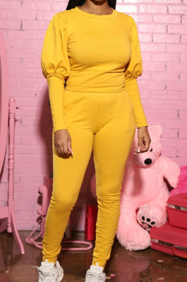 Yellow Casual Round Collar Puff Sleeve T-Shirt With Pocket Tied Pencil Pants Sports Sets SMD82078-3