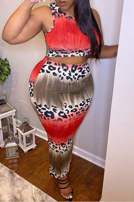 Pink Red Women Sexy Leopard Printing Trendy Sleeveless Tank Casual Plus Skirt Sets DLY80288