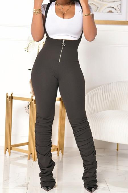 Black Summer Cotton Blend Pure Color Tight Zipper Ruffle Suspender Trousers E8528-2