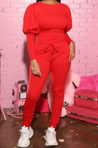 Red Casual Round Collar Puff Sleeve T-Shirt With Pocket Tied Pencil Pants Sports Sets SMD82078-1