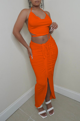 Orange Sexy Solid Colur Halter Neck Backless Strapless Drawsting Slit Skirts Sets ZNN9093-5