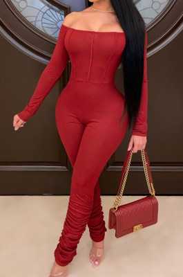 Wine Red Sexy Long Sleeve A Word Shoulder Solid Color Bodycon Jumpsuits E8511-2