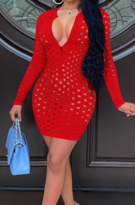 Red Autumn And Winter New Hollow Out Long Sleeve Zipper Pure Colur Hip Mini Dress E8609-1