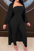 Black Autumn And Winter Long Sleeve Coat Strapless Solid Colur Bodycon Jumpsuits Two Piece E8508-2
