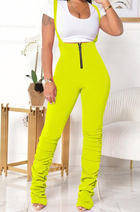 Fluorescent Summer Cotton Blend Pure Color Tight Zipper Ruffle Suspender Trousers E8528-3