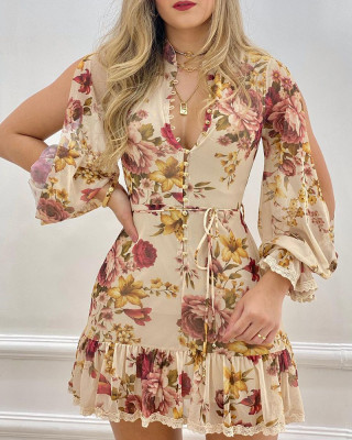 Chic Beige Floral Print Shirt Dress With Slit Sleeves