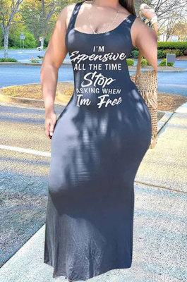 Gray Sexy Women Sleeveless Letters Printing Condole Belt Plus Long Dress DLY8022-5