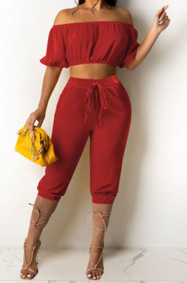 Red Euramerican Women Sexy Off Shoulder Dew Belly Blouse Pure Color Cropped Pants Sets AYQ0510-2