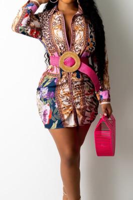 Colorful Positioning Print Long Sleeve Lapel Neck Single-Breaster Shirt Dress E8610-2