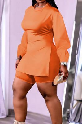 Orange New Cotton Blend Long Sleeve Round Collar Waist Side Slit Shorts Pure Color Plus Two-Piece QSS51029-1