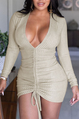 Apricot Women Pure Color V Neck Shirred Detail Long Sleeve Casual Sexy Mini Dress AFM60025-1
