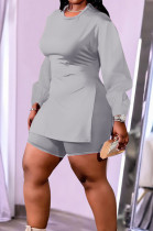 Grey New Cotton Blend Long Sleeve Round Collar Waist Side Slit Shorts Pure Color Plus Two-Piece QSS51029-3