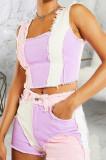 Purple Casual Spliced Elastic Hip Jean Shorts SMR2464-2