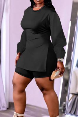 Black New Cotton Blend Long Sleeve Round Collar Waist Side Slit Shorts Pure Color Plus Two-Piece QSS51029-4