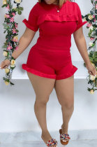 Red Women Solid Color Falbala Short Sleeve Round Neck Romper Shorts XMS9149