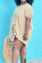 Apricot Casual Round Neck Short Sleeve Drawstring Loose Mini Dress D8453