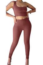 Brown Sexy Oblique Shoulder Pure Color Ribber Pants Sets XMS9171-1