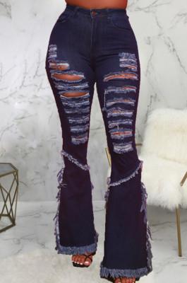 Dark Blue Elastic Water Washing Hole High Waist Jean Flare Pants SMR2437-1