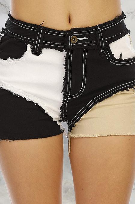 Black Casual Spliced Elastic Hip Jean Shorts SMR2464-1