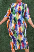Blue Orange Colorful Printing Three Quarter Sleeve Round Neck Plus Casual Slim Fitting Long Dress P8745
