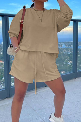 Beige Autumn Long Sleeve Round Collar Blouse Shorts Solid Color Sports Sets TD80061-1