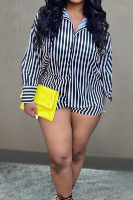 Black White Stripe Printing Lapel Neck Long Sleeve Singel-Breasted Shirts High Waist Shorts Casual Sets D8452