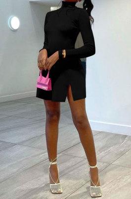 Black Women Solid Color High Neck Casual Long Sleeve Lower Hem Split Mini Dress AFM60027-2