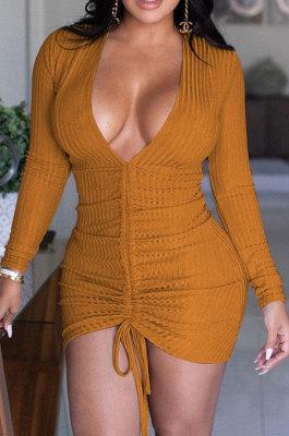 Orange Women Pure Color V Neck Shirred Detail Long Sleeve Casual Sexy Mini Dress AFM60025-2