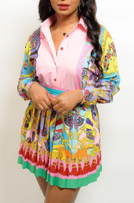 Positioning Printed Shirt Top+ Pleated Skirt Suit