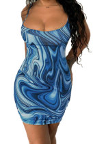 Blue Trendy Casual Sexy Backless Condole Belt Printing Mini Dress GB1001-3