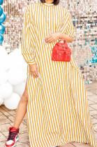 Yellow Stripe Print Long Sleeve O Collar Single-Breasted Shirt Slit Long Dress ZNN9103-1