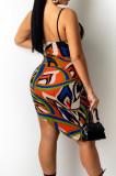 Orange Fashion Printing Condole Belt Backless Strapless Cute Two-Piece ZNN9098