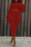 Red Elastic Ruffle Long Sleeve Half High Neck Blouse High Waist Long Skirts Pure Color Two-Piece YYF8235-3
