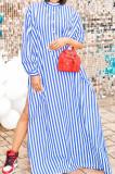 Blue Stripe Print Long Sleeve O Collar Single-Breasted Shirt Slit Long Dress ZNN9103-3