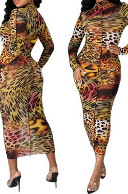 Leopard Print Sexy High Elastic Mesh Printing Long Sleeve Round Neck Boycon Dress SMR10236-4