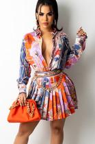 Long Sleeve Print Pressed Skirt Suit MY9947