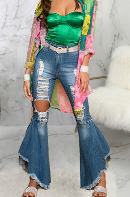 Blue Mid Waist Water Washing Spliced Hole Slim Fitting Jean Flare Pants SMR2561