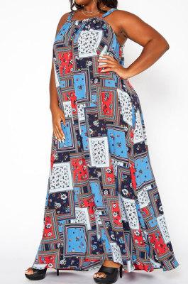 Multicolor Euramerican Women Condole Belt Loose Plus Long Dress YBS86723