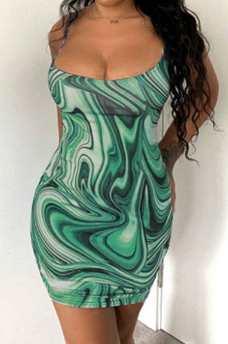 Green Trendy Casual Sexy Backless Condole Belt Printing Mini Dress GB1001-1