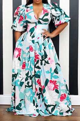 Sky Blue Elegant Printing Puff Sleeve V Neck Collcet Waist Slit Long Dress L0357-2