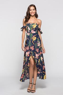 Chic Flower Print Long Dress