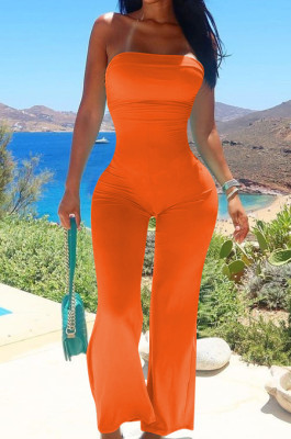 Orange Sexy Tight Strapless Collcet Waist Solid Color Wide Leg Jumpsuits LM88813-3