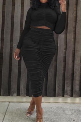 Black Elastic Ruffle Long Sleeve Half High Neck Blouse High Waist Long Skirts Pure Color Two-Piece YYF8235-2