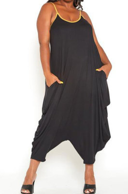 Black Women Casual Condole Belt Sexy Loose Plus Jumpsuit YBS86718-1
