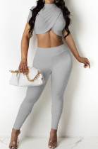 Grey Personality Pure Color Short Sleeve Rond Neck Crop Top Bodycon Pants Two-Piece DR8093-3