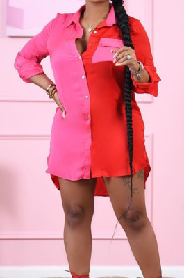 Red Fashion Spliced Long Sleeve Lapel Collar Single-Breasted Shirt Dress ORY5202